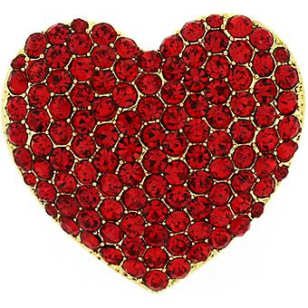 Brooches Store Sparkling Siam Red Crystal Love Heart Brooch