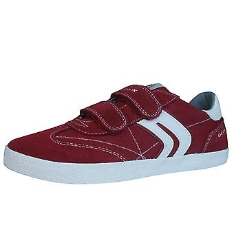 Geox J Kiwi B.M Boys Canvas and Suede Trainers / Shoes - Red