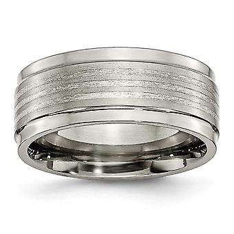 Titanium Grey With Sterling Silver Polished Engravable Inlay Ridged Edge 9mm Band Ring - Ring Size: 8 to 13
