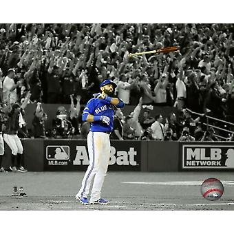 Jose Bautista drie-run homerun Game 5 van de 2015 American League Division Series Spotlight foto afdruk