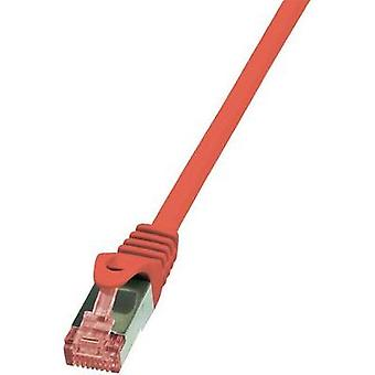 RJ49 Networks Cable CAT 6 S/FTP 2 m Red Flame-retardant, incl. detent LogiLink