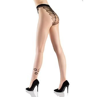 Dudaq - ultra sheer ladies tights lips Kiss Kiss lips motifs with slip
