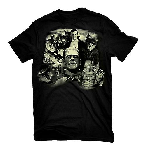 Rock Rebel Mens Universal Monster Collage Tshirt Top Black Classic Horror Movie