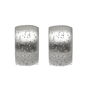 Sterling Silver Rhodium Plated With Brushed Diamond Dust Finish Snuggable Earrings