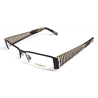 Boucheron Unisex Semi-Rectangle Eyeglasses Purple/Gold