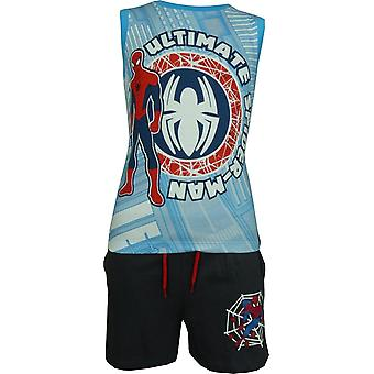 Boys Marvel Spiderman Sleeveless T-shirtVest Top & Shorts Set