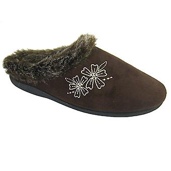 Coolers Womens Mule Slippers Floral Style Microsuede-Faux Fur Trim & Lining A223