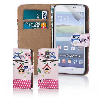 Kul bok plånbok fallet täcker för Samsung Galaxy S5 G900 - Tree Owl