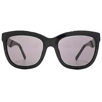 Swarovski Crystal Fabric Embellished Temple Square Sunglasses In Shiny Black