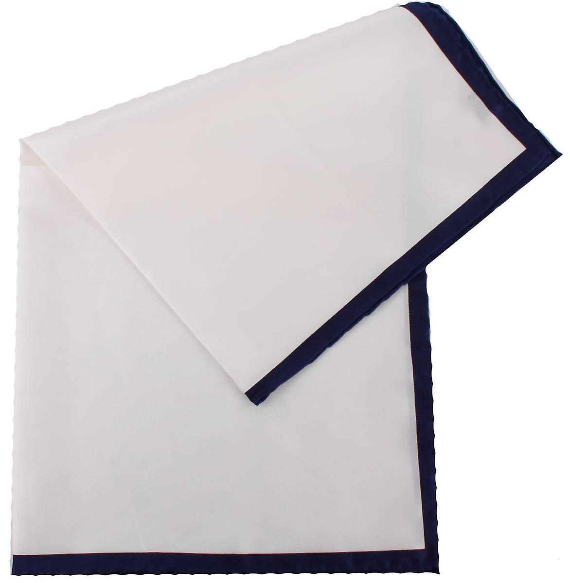 Michelsons of London Shoestring Border Handkerchief - White/Navy