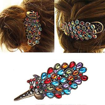 Retro Colorful Vintage Alloy Crystal Jewelry Peacock Hairpin Hair Clip Bronze by Boolavard® TM