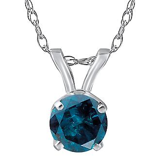 5/8ct Blue Diamond Solitaire 14K White Gold Pendant