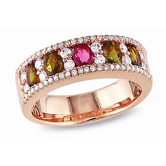 Affici Sterling Silver Semi Eternity Ring 18ct Rose Gold Plated  ~ Ruby & Topaz CZ Gems