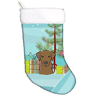 Juletre og Chocolate Labrador julestrømpe