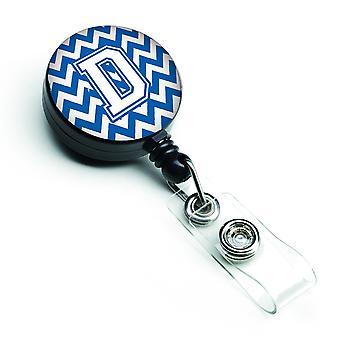Letra D Chevron azul y blanco carrete Retractable de la insignia