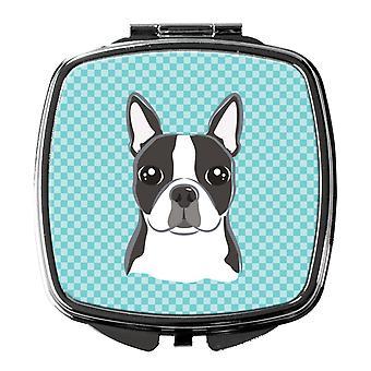 Carolines Schätze BB1141SCM Schachbrett blau Boston Terrier Taschenspiegel