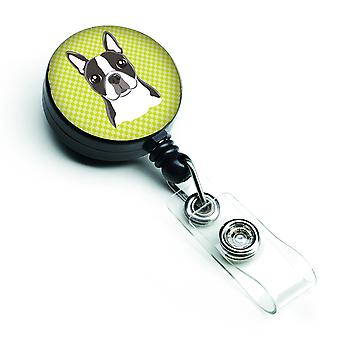 Lime Checkered Boston Terrier Retractable Badge Reel
