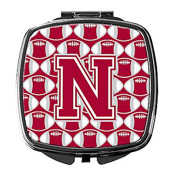 Letter N Football Crimson, grey and white Compact Mirror