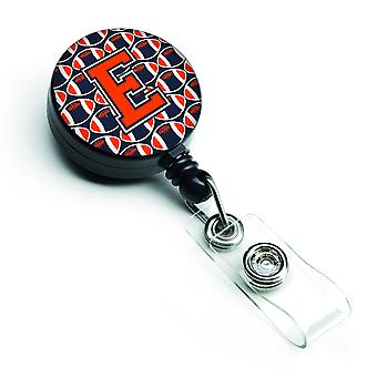 Letter E Football Orange, Blue and white Retractable Badge Reel