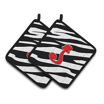 Inicjałem początkowe J Zebra czerwony para łapki