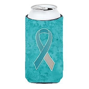 Teal and White Ribbon for Cervical Cancer Awareness Tall Boy Beverage Insulator