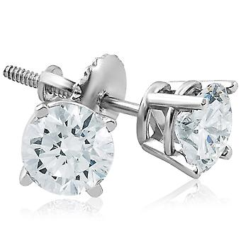 Screw Back 1ct Diamond Studs 14k White Gold Clarity Enhanced