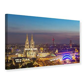 Canvas Print Skyline Cologne Cathedral At Night