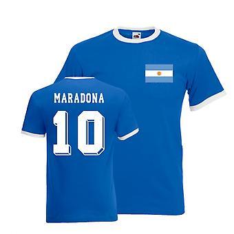 Diego Maradona Argentina Ringer Tee (azul)
