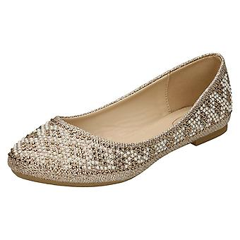 Ladies Spot On Diamante Bead Ballerinas - Rose Gold Glitter - UK Size 8 - EU Size 41 - US Size 10