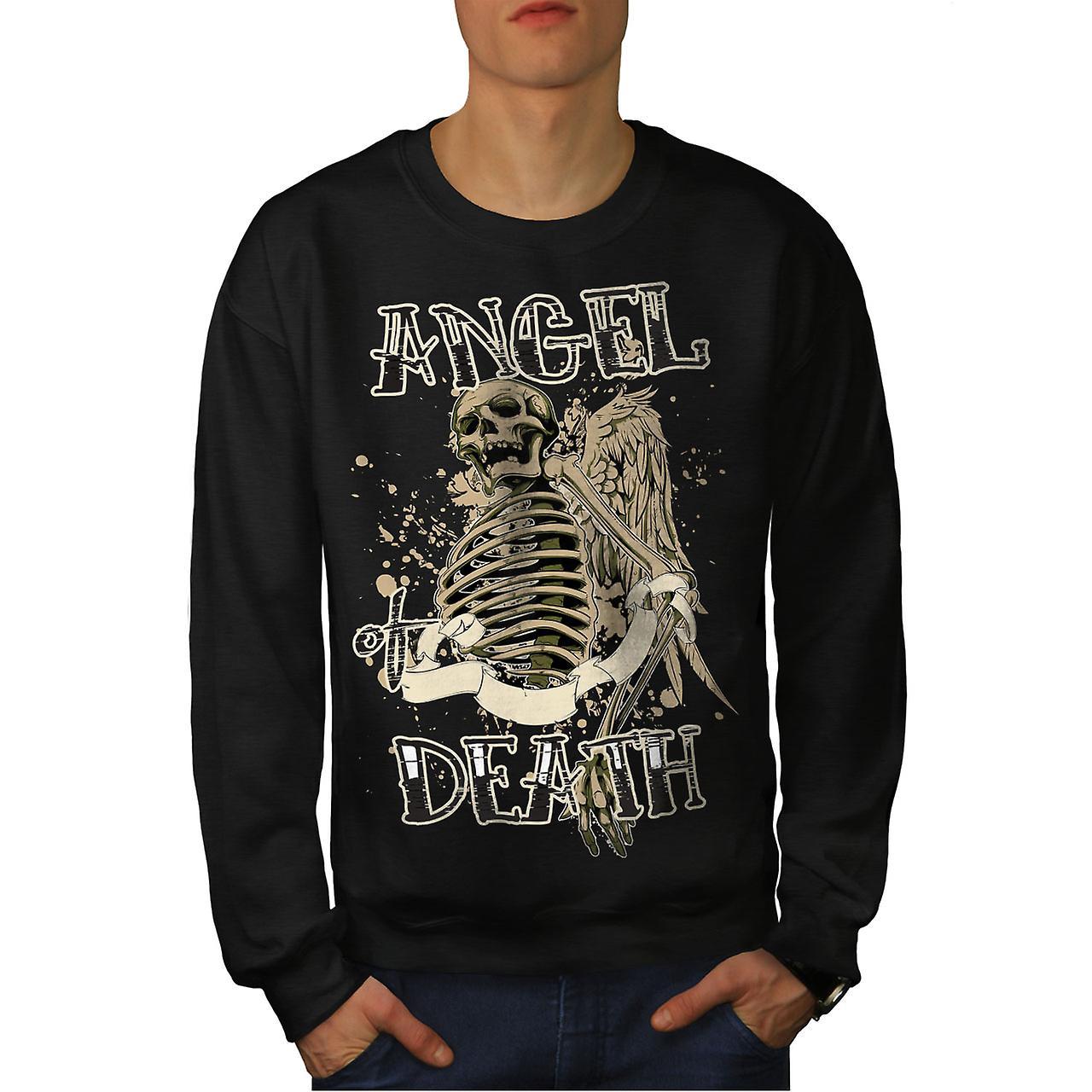 Angel Death Gothic Skull Men Black Sweatshirt | Wellcoda
