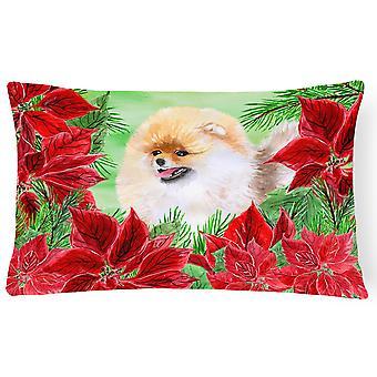 Pomeranian Poinsettas Canvas Fabric Decorative Pillow