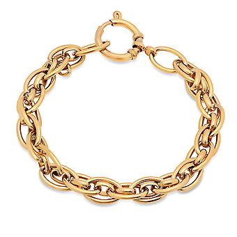 Ladies 18K Gold Plated Stainless Steel Cluster Link Bracelet