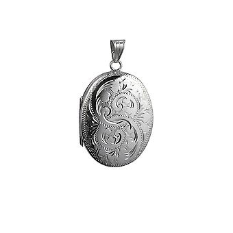Silver 35x26mm oval hand engraved 4 photo family Locket