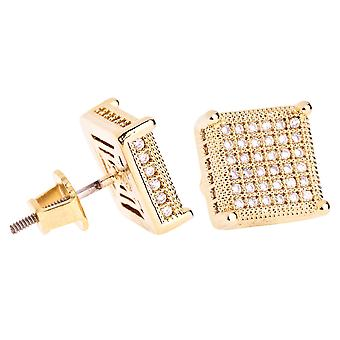 Iced out bling micro pave earrings - SIDE 10 mm gold