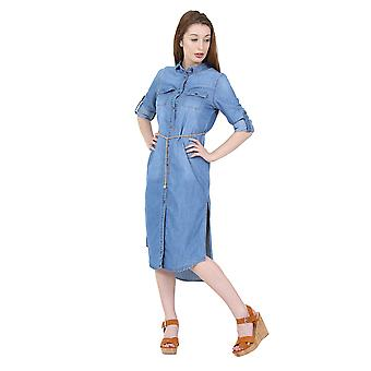 Long Denim Dress Button front Jean Dress with side splits and belt