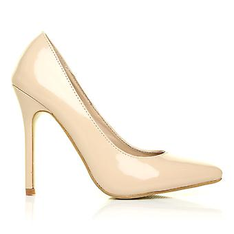 Toni Nude Patent Leather Pointed Toe Court Shoes