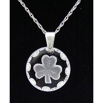 Frosted round Shamrock Crystal Pendant