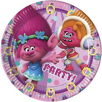 Teller Partyteller Teller Trolls Kinderparty Geburtstag 23cm Durchmesser 8 Stück