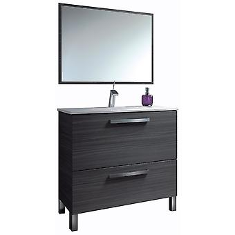 Wellindal Washbasin cabinet 80 door + 1 drawer + mirror urban