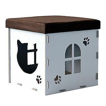 PawHut Cat Cave Box Upholstered Lid Size M  Pet Shelter Pet House Footrest Scratching Pad Scratching Pad 41x41x41cm White