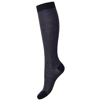 Pantherella Hatty Herringbone Merino Wool Knee High Socks - Navy