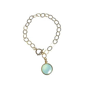 Gemshine - ladies - bracelet - gold plated - chalcedony - green - CANDY