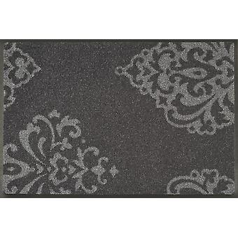 wash + dry Lucia grey mat washable tendril motif dirt mat
