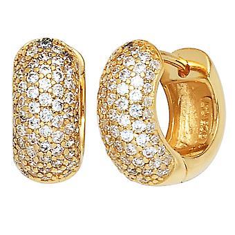 Hoop earrings earrings gold plated 925 Sterling Silver earrings with cubic zirconia