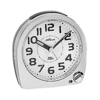 Atlanta 1738/19 Alarmklokke kvarts analoge sølv stille uten tikkende med lys Snooze