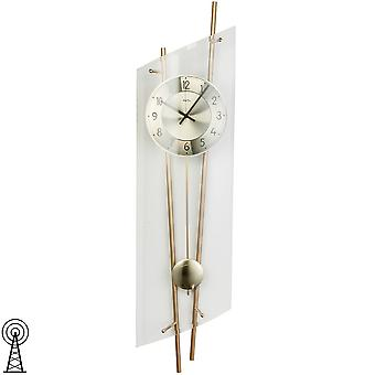 Wall clock radio clock with pendulum mineral glass with messinglackerten metal rods