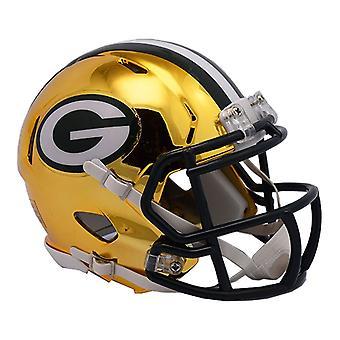 Riddell mini voetbal helm - NFL CHROME Green Bay Packers