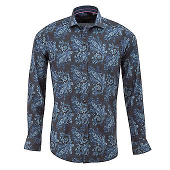 Guide London Navy Cotton Faded Paisley Print Mens Shirt