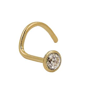 Nose screw zirconia 18k gold