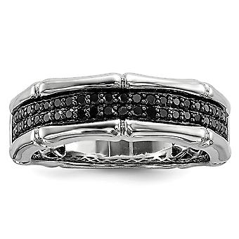 925 Sterling Silver Polished Prong set Gift Boxed Rhodium-plated Black Diamond Mens Ring - Ring Size: 9 to 11